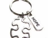 Autism Awareness Puzzle Piece Hope Charm Tag Keychain, Key Chain, Bag Charm, Gift