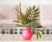 1:6 Scale Miniature Pearl Pink Urn Plant Fern Moss Arrangement Blythe Momoko Pullip Barbie Fashion Royalty Doll House