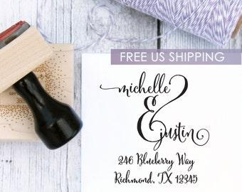 Custom Wedding Stamp - Ampersand Love, Address Stamp, Housewarming Gift, Wooden Stamp, Self Inking Stamp, Rubber Stamp, Calligraphy