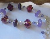 Purple and Pink Lampwork Bracelet