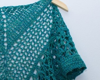 Green-Blue Lace Wool Shawl