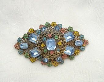 Vintage Floral Brooch Enamel Rhinestone Sapphire Goldtone Restored