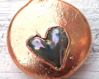 Copper Electroplated Lampwork Glass Focal - copper and metallic silver - Overflowing With Love - SRA AutEvDesigns, ISGB