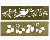 Pair of Vintage  Brass Border Design Stencils, Dove, Strawberries, American Traditional,  Wall Sign, Stencil, Borders