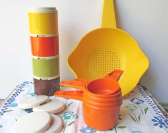 Lot of Vintage 1970 Tupperware Plastic Kitchen Items, Spice Stackers, Small Colander, Set Measuring Cups, Yellow, Orange, Avocado, Brown