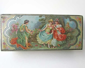 Antique Tea Tin, Edwardian Lithographed Tin Lift Top Box, Jewelry Box, Trinket Box, Romantic Scene w Ladies, Young Lyre Player, Cupid