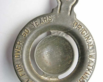 1930  Vintage Tin Watkins Products Best for Over 50 Yeats  Advertising Egg Separator Kitchen Utensil