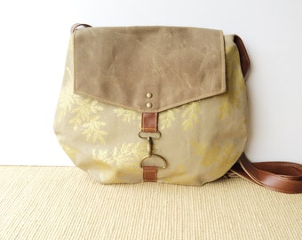 satchel • waxed canvas crossbody bag - botanical print • metallic gold hand printed canvas - floral print - waxed canvas • native
