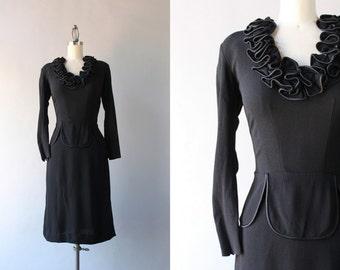 1940s Dress / Vintage Eisenberg Original 40s Little Black Dress / WW2 Black Rayon Ruffle Collar Dress