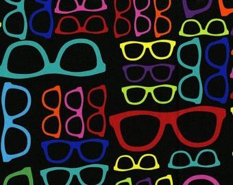 Geekery Glasses Multicolored Black Sue Marsh RJR Fabric 1 yard
