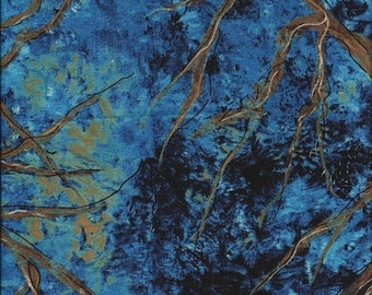 Treetops Night Blue Nature Study Frond Designs 1 yard