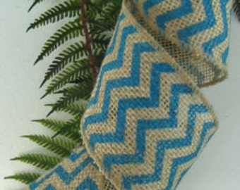 "Burlap Wired Ribbon Aqua Turquoise  Chevron 2 1/2"" 15 Feet Wedding Bows Wreaths"