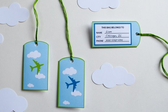 Airplane Favor/Goodie Bag Luggage Tags Personalized Printable for an airplane birthday party - INSTANT DOWNLOAD