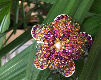 Mini megawatt Swarovski volcano-colored  hair flower with swarovski pearl at center
