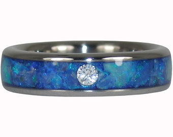 Blue Opal Titanium Diamond Ring