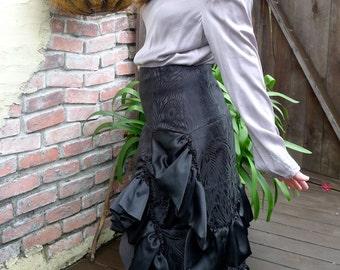 Black Peacock Silk Brocade Ruffled Bustle Skirt