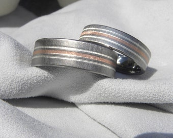 Titanium Ring SET, Matching Wedding Bands, Silver and Copper Stripes, Frosted