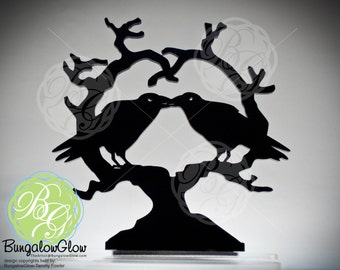 Kissing Raven Heart Crow Cake Topper, 'Nevermore' Wedding Keepsake Topper, Dark Night Blackbirds Gothic Couple *Original Design*
