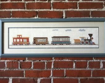 Hand stitched needlepoint train Matthew Express