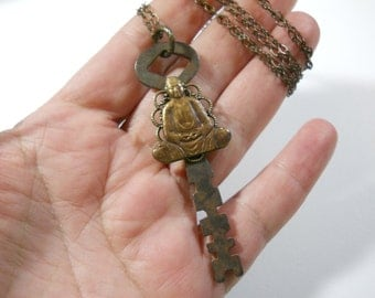 Long Metal Vintage Key with Buddha Charm on Long Brass Chain with Rich Patina Meditation Buddha Love Peace is the Key Boho Necklace