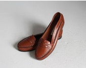 VALENTINES DAY SALE sale // vintage dark brown deadstock loafers flats new / 6 - 6 1/2