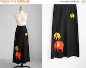 VALENTINES DAY SALE 1970s black Elephant long skirt / s