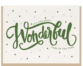 "Letterpress ""Wonderful"" Greeting Card"