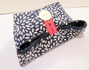 Small Foldover Bag/ Navy and White Floral Burst