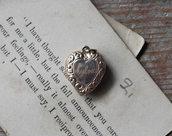 Vintage Heart Charm, Engraved Heart, Sylvia, Jewelry, Valentine's Day