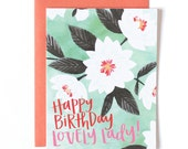 Happy Birthday Lovely Lady Illustrated Card // 1canoe2