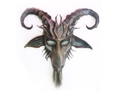 Baphomet Goat Leather Mask  horsehair beard Krampus Satyr grey with brown and black