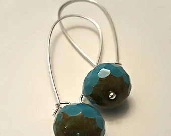 Long beaded earrings,czech glass bead earrings,dangle earrings,hoop earrings,blue beaded earrings,gift for her,gifts under 20,made in canada