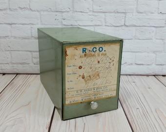 Vintage Hinged Pharmacy Prescription Box Olive Green Metal Industrial