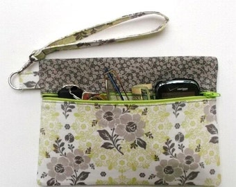 Green Grey Floral Clutch, Front Zippered Wristlet, Phone Purse, Small Purse, Green Flowers Wallet, Makeup or Camera Bag, Gadget Holder