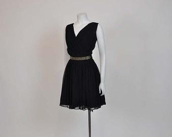 1960s dress / Vintage 50's Chiffon Black Cocktail Party Full Dress