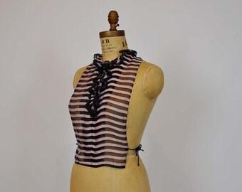 20s dicky/  Moulin Rouge Vintage 1920's Pink Black Cravat Collar
