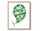 Floral Peacock Art Print - SPRING - Peacock illustration, Bird Art Print, Peacock Feathers, Peacock Decor, Flower Art, Floral Print