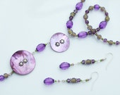 Purple Jewellery SET -  Mother of Pearl Double Disk & Olive Green Pendant Necklace and Earrings
