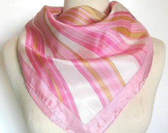 Vintage Scarf in Pretty Pink and Gold - Hand Rolled Hem - Square Neck Scarf / Lady Heritage Robinson and Golluber