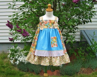 Toddler girl apron knot dress size 3 coral  peach roses blue flowers apple blossoms ready to ship jumper party dress OOAK summer dress
