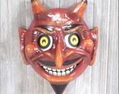 Halloween Vintage Styled OOAK Handmade Red Devil Wall Mask Luminary Lantern Light