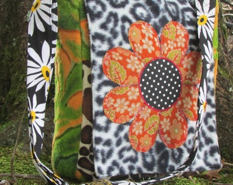 Messenger Bag Colorful Eclectic seventies inspired one of a kind Stunning with new and vintage fabrics