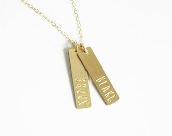 Custom Name Necklace, Gold Bar Necklace, Personalized Jewelry, Name Bar Necklace,  Gold Necklace, Long Necklace, Personalized Necklace
