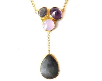 30% Fall Sale Triple Stone Gold Necklace with Pink Quartz, Amethyst and Labrodorite Stones