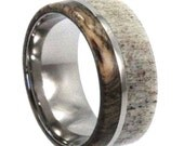 Deer Antler Ring, Titanium Band With Buckeye Burl, Hunter's Ring