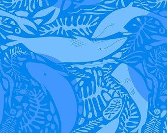 Fat Quarter - Blue Whales - 7835-B