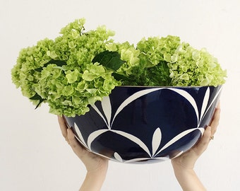 Handmade, Pottery, Large, Bowl, Grand Central, Graphic Pattern, Navy