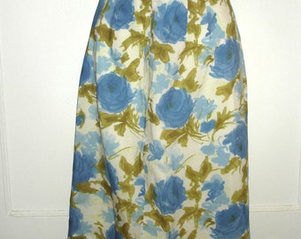 vintage watercolor floral print silky pencil skirt SMALL