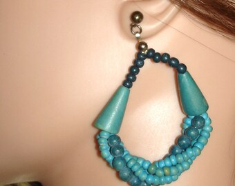 vintage turquoise twisted beads hoops pierced earrings
