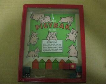 Vintage Journet Dexterity Puzzle PigyBak w/ cracked Glass Punk Art